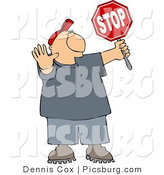 Clip Art of a Cross Guard Man Stopping Traffic so Children Can Cross the Street by Djart