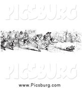 Clip Art of a Crowd Chasing After a Dog Who Stole a Sausage in Black and White by Picsburg