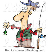 Clip Art of a Disappointed Wide Eyed Fisherman with a Very Small Fish on His Fishing Line by Toonaday