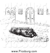 Clip Art of a Dog Eating Sausage on a Street, in Black and White by Picsburg