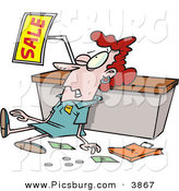 Clip Art of a Employee Trampled During a Sale for Christmas by Toonaday