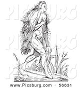 Clip Art of a Fantasy Hairy Woman Creature Walking with a Child - Black and White Line Drawing by Picsburg