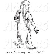 Clip Art of a Fantasy Rabbit Eared Man Creature - Black and White Line Drawing by Picsburg