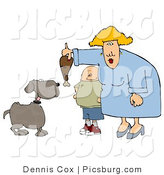 Clip Art of a Fat Son Watching Mom Feed a Brown Pet Dog a Turkey Leg by Djart