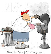 Clip Art of a Father Putting a Hamburger on a Barbecue (BBQ) Grill by Djart