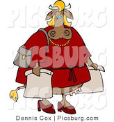 Clip Art of a Female Cow in a Red Dress Going on a Shopping Spree for Fun by Djart