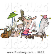 Clip Art of a Female Online Auction Addict Sitting in Front of a Computer and Gritting Her Teeth, All Items Around Her with Price Tags by Toonaday