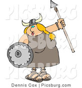 Clip Art of a Funny Fat Blond Viking Woman Armed with a Spear and Shield by Djart
