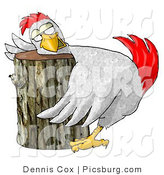 Clip Art of a Funny White Chicken on a Wood Chopping Block by Djart