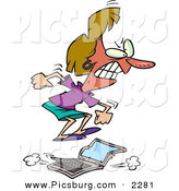 Clip Art of a Furious Woman Jumping on a Laptop Computer by Toonaday