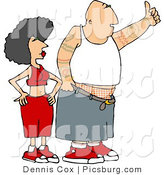 Clip Art of a Gangster Man with Arm Tattoos and His Woman Hitchhiking by Djart