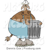 Clip Art of a Garbageman Cow with a Trashcan in Front by Djart