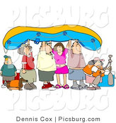 Clip Art of a Gathering of Friends and Family Going River Rafting by Djart