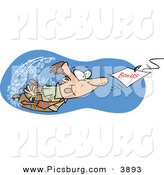 Clip Art of a Goofy White Man Swimming After a Hooked Bonus Underwater by Toonaday