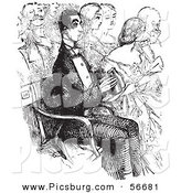 Clip Art of a Grayscale Painting of a Retro Vintage Man with Binoculars at the Opera in Black and White by Picsburg