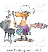 Clip Art of a Grinning Cook Man Preparing to Barbeque Ribs on a Gas Grill by Toonaday