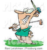 Clip Art of a Grinning Happy Male Golfer near a Ball, Holding His Golf Club and Standing on the Green by Toonaday