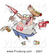Clip Art of a Grinning Male Baseball Fan with a Hot Dog Hat, Flag, Hand and Drinks by Toonaday