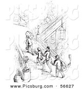 Clip Art of a Group of Old Fashioned Vintage Men Climbing Hotel Stairs in Black and White by Picsburg
