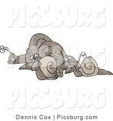July 13th, 2012: Clip Art of a Group of Snails Going Left on a White Background by Djart