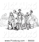 Clip Art of a Group of Vintage Men Toasting in Black and White by Picsburg