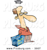Clip Art of a Grumpy Caucasian Voter with His Hand Inside a Ballot Box - Stuffing the Ballot Box by Toonaday