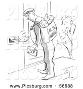 Clip Art of a Hand Reaching out the Mail Slot to the Mailman Black and White by Picsburg