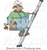 Clip Art of a Handyman Cow Climbing up a Ladder with a Toolbox by Djart