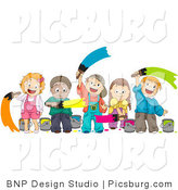 Clip Art of a Happy Group of Diverse Kids Painting with Paint Brushes by BNP Design Studio