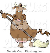 Clip Art of a Happy Human-like Spotted Brown Housewife Cow the Mopping Floor by Djart