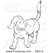 Clip Art of a Happy Puppy Dog Looking Back - Black and White Line Art by Picsburg