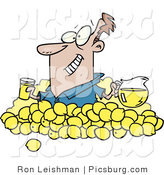 Clip Art of a Happy Widely-Grinning Man with Lemons, Pitcher of Lemonade and a Glass of Juice by Toonaday