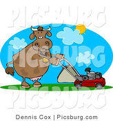 Clip Art of a Helpful Cow Mowing Lawn on a Hot Summer Day by Djart