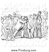Clip Art of a Historic Scene of Men Hugging in Black and White by Picsburg
