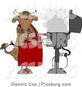 Clip Art of a Horned Cow Cooking BBQ on an Outdoor Propane Grill by Djart