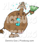 Clip Art of a Hot Cow Drinking Water and Using a Foldable-Fan to Cool Himself by Djart