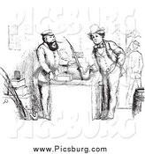 Clip Art of a Intage Man Buying a German Pipe in Black and White by Picsburg