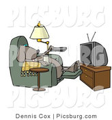 Clip Art of a Lazy Dog Relaxing in a Recliner with a Beer, Changing TV Channels with Remote Controller by Djart