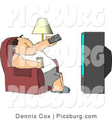 Clip Art of a Lazy Fat Male Sitting on a Couch, Channel Surfing the TV, and Drinking Beer by Djart