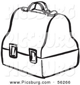 Clip Art of a Lunch Box - Black and White Line Art by Picsburg