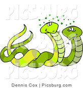 Clip Art of a Male and Female Snakes Mating with Green Hearts over Their Head by Djart