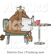 Clip Art of a Male Bull Cow Reading the Daily Newspaper with Coffee by Djart
