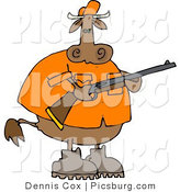 Clip Art of a Male Cow Hunter Holding a Hunting Rifle in His Hands by Djart