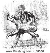 Clip Art of a Man Beating up a Guard in Black and White by Picsburg