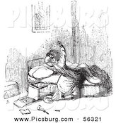 Clip Art of a Man Being Annoyed by Mosquitoes While Trying to Fall Asleep in Bed - Black and White by Picsburg