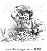 Clip Art of a Man Going Through Receipts in Black and White by Picsburg