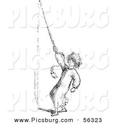 Clip Art of a Man Ringing a Bell for Help with Mosquitoes - Black and White by Picsburg