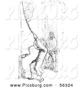 Clip Art of a Man Ringing a Bell for Help with Mosquitoes - Black and White Version 2 by Picsburg
