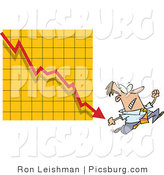 Clip Art of a Man Running from a Bar on a Declining Red Graph by Toonaday