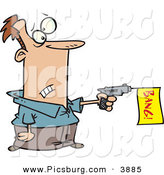 Clip Art of a Man Shooting a Dud Gun with a Yellow Bang Flag in Shooting out by Toonaday